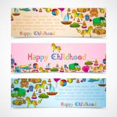 Toys banners horizontal set — Vector de stock