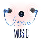Headphones with love letters — Stock vektor