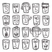 Sketch emoticons set — Stock Vector