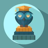 Owls in graduation cap — Stock Vector