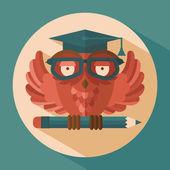 Owl in graduation cap — Stock Vector