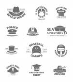 Hat professions stamps — Stock Vector