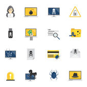 Hacker Icons Flat — Stock Vector