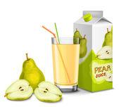 Pear juice set — Stock Vector