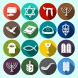 Judaism Icons Set Flat — Stock Vector #52264201