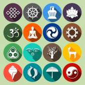 Buddhism Icons Set Flat — Vector de stock