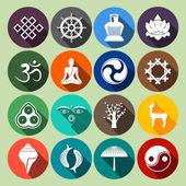 Buddhism Icons Set Flat — Stock Vector