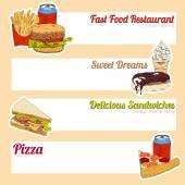 Fast food menu banner — Stock Vector