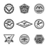 Eagle label icon set — Stock Vector