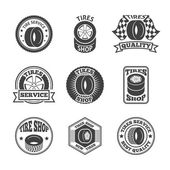 Tires label icon set — Vector de stock