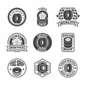 Tires label icon set — Stock Vector