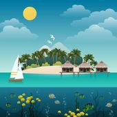 Sfondo isola tropicale — Vettoriale Stock