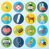 Veteriner icons set — Stok Vektör