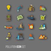 Pollution icon set — Stock Vector