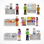 People in supermarket — Stock Vector