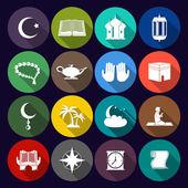 Islam Icons Set Flat — Stock Vector