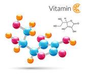 Vitamin C molecule — Stock Vector