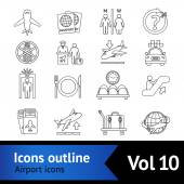 Airport Icons Outline Set — Stock Vector