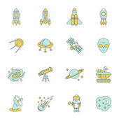 Space Line Icons Set — Stock Vector