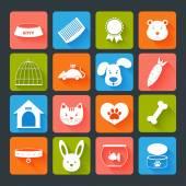 Pets Icons Set Flat — Stock Vector
