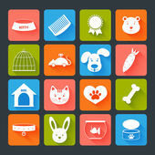 Pets Icons Set Flat — Stock Vector