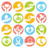 Charity and donation icons white — Stock Vector