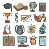 School education sketch icons — Stock Vector