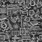 School education chalkboard seamless pattern — Stock Vector