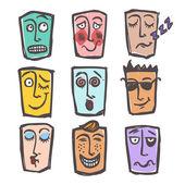 Sketch emoticons colored set — Stock Vector