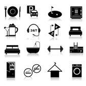 Hotel icons set black — Stock Vector