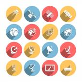 Satellite icons set — Stock Vector