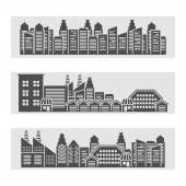 Cityscape icons banner — Stock Vector
