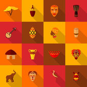 Africa icons set flat — Stock Vector
