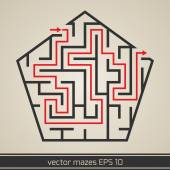 Maze labyrinth with solution — Stock Vector