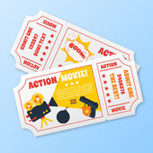 Action movie tickets set — Stock Vector