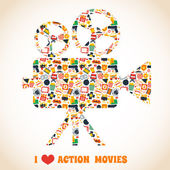 Action movie camera — Stock Vector
