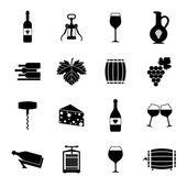 Wine icons set black — Stock Vector