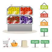 Supermarket fruits vegetables — Stock Vector