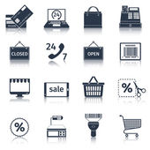 E-commerce icons set black — Stock Vector