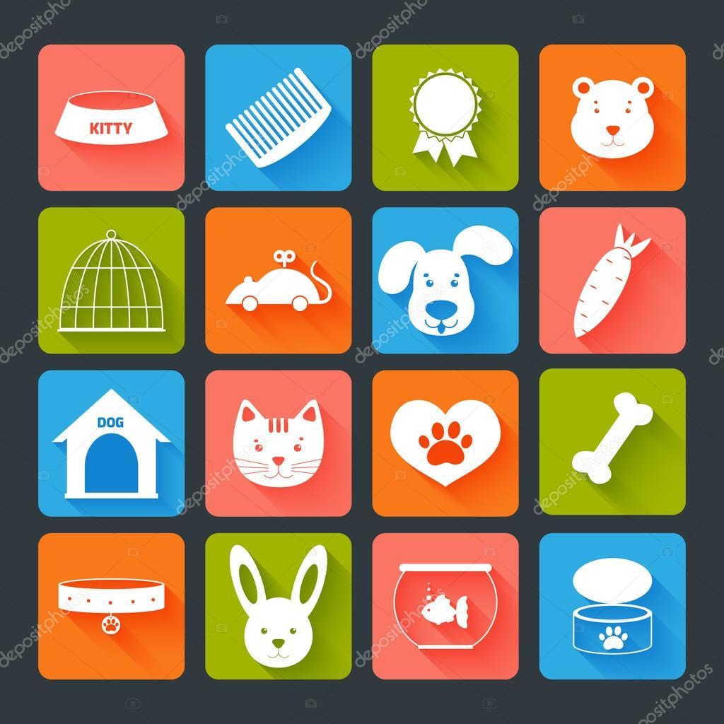 宠物图标设置平与动物性食品玩具孤立矢量图 — 矢量图片作者 macrove