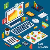 Isometric data analysis set — Stock Vector