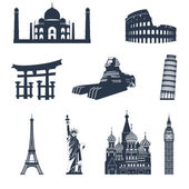 World famous landmarks black — Stock Vector