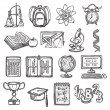 School education sketch icons — Stock Vector #52405181