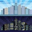 Cityscape tileable border day and night — Stock Vector #52405377