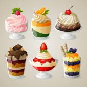Sweets ice cream  dessert set — Stock Vector