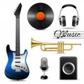 Realistic music icons set — Stock Vector