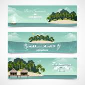 Island horizontal banners — Stock Vector