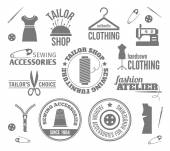 Sewing equipment labels — Stock Vector