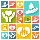 Charity and donation icons flat — Stock Vector