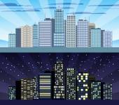 Cityscape tileable border day and night — Stock Vector
